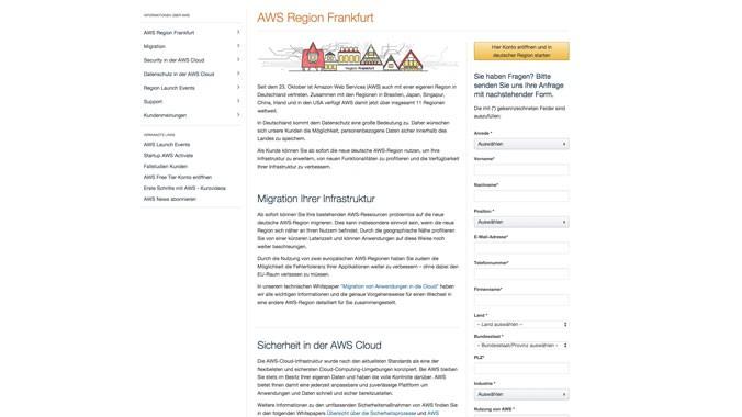 AWS Region Frankfurt